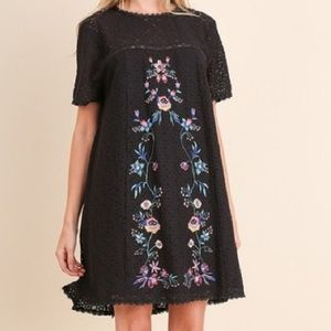 Umgee • Black Lace Mini Dress with Embroidery